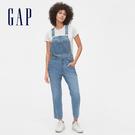 Gap女裝 時尚水洗牛仔吊帶褲 546829-中度靛藍