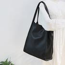 真皮側背包-簡約休閒牛皮購物袋女單肩包3色74af14[巴黎精品]