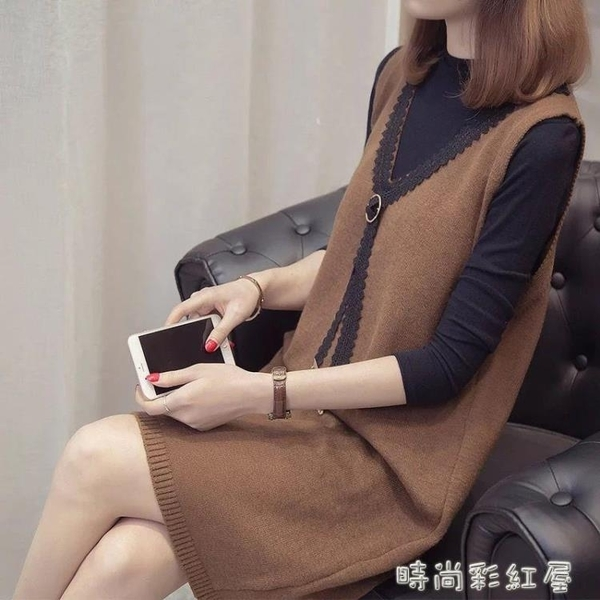 2020秋秋V領針織馬甲毛衣女中長款蕾絲韓版背心女寬鬆顯瘦 裝飾界