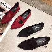 單鞋尖頭一腳蹬粗跟豆豆鞋女百搭時尚兩穿【愛物及屋】