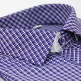【金‧安德森】紫格白線門襟斜格窄版長袖襯衫