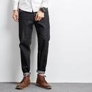牛仔褲 原宿潮男深色赤耳丹寧牛仔褲男 原色直筒寬鬆小腳日系復古哈倫褲