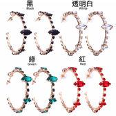【RJNEWYORK】天使光環C型水晶鑽針式耳環 4色可選