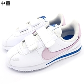 《7+1童鞋》中童 NIKE Cortez Basic SL PSV 阿甘 粉嫩薰衣草紫 魔鬼氈 慢跑鞋 G849 粉色