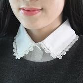 假領子襯衫穿搭領片 無印良品風緹花滾邊配件針織大學T毛衣內搭白 預購[E1032]朵曼堤洋行