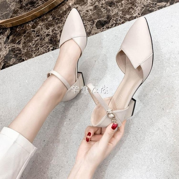 包頭粗跟涼鞋女2021春夏新款中空高跟鞋單鞋百搭一字扣帶女鞋 快速出貨