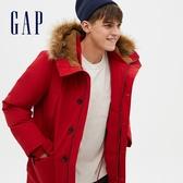 Gap男裝 簡約風仿毛邊連帽派克大衣 656248-紅色