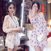 雙十二狂歡夏裝韓版女裝長袖一字領露肩洋裝【洛麗的雜貨鋪】