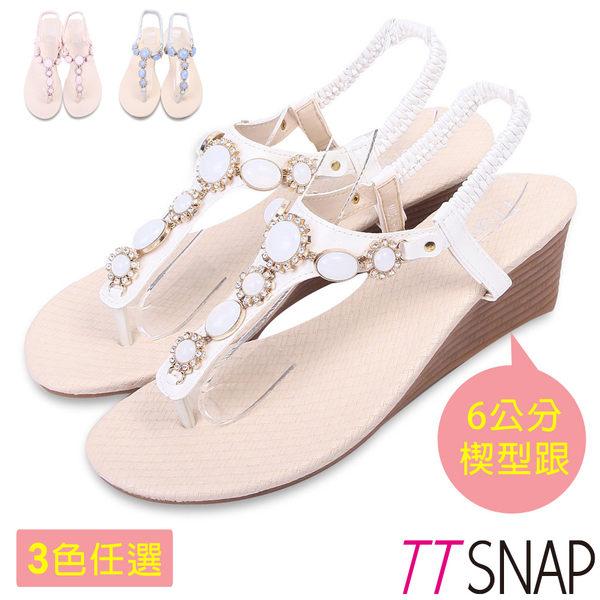 楔型涼鞋-TTSNAP粉嫩寶石花型夾腳坡跟涼鞋 白/粉/藍