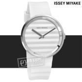 ISSEY MIYAKE / VJ20-0110W.SILAAA02Y / PLEASE 三宅一生 時裝系列百摺防水橡膠手錶 銀x白 40mm