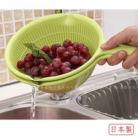 【日本SANADA】SEIKO 單柄球型蔬果清洗籃/洗米盆(綠色)~20cm‧日本製✿桃子寶貝✿