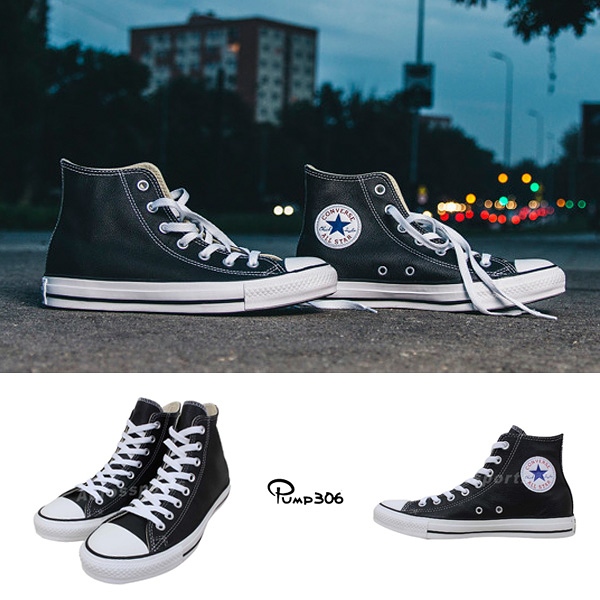 Converse Chuck Taylor All Star HI Leather 黑 白 基本款 帆布鞋 經典 皮革鞋面 男鞋 女鞋【ACS】132170C