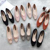 韓國簡約復古絨面低跟鞋春秋森女蝴蝶結方頭單鞋
