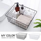 大 日式鐵藝家居 收納盒 整理 分類 分隔 浴室 廚房 儲物籃 鐵藝 簡約方型收納籃 【Q265】MY COLOR