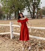 清倉$388 韓系復古風一字領露肩長版收腰開叉短袖洋裝