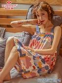 睡裙 俞兆林吊帶睡裙女夏季薄款純棉睡衣女韓版可愛卡通全棉無袖連衣裙 快速出貨