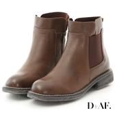 D+AF 街頭率性.圓頭軍風切爾西短靴*咖