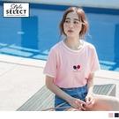《KG0783》閨蜜系列~高含棉桌球刺繡配色條紋拼接T恤/上衣 OrangeBear