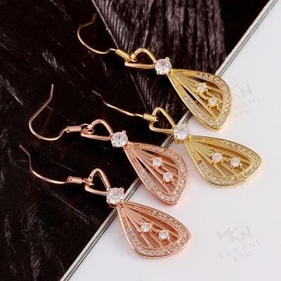 耳環 玫瑰金純銀 鑲鑽-奢華典雅魅力設計生日情人節禮物女飾品2色73bu39【時尚巴黎】