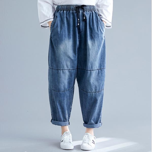 褲子 - B16481 微刷白剪裁牛仔褲【正常、加大碼】MEET中大尺碼