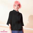 【SHOWCASE】泡泡蕾絲七分袖二件式雪紡襯衫(黑)