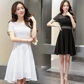 洋裝 夏季新款黑色白色修身顯瘦苗條有彈力連身裙韓版小清新圓領裙