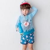 韓國寶寶泳衣兒童分體連帽鯊魚男孩男童小中大童防曬速干泳褲套裝
