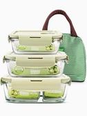 玻璃飯盒微波爐專用保鮮分隔家用便當盒女學生帶蓋韓國圓形碗 【原本良品】