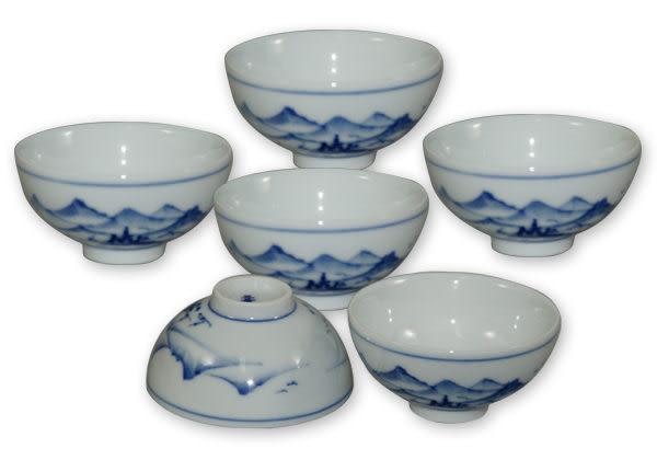 鹿港窯~ 青花瓷手繪茶杯【山水】(6入)