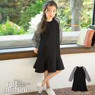 女童洋裝 黑白格紋拼接荷葉襬連身裙 韓國外貿中大童 QB allshine