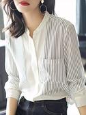 中大尺碼雪紡衫 2021新款春季立領襯衫女士長袖黑白條紋職業襯衣氣質打底上衣 3C數位百貨