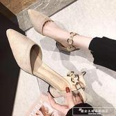 單鞋女2019春款仙女風百搭韓版一字跟女鞋尖頭中跟高跟鞋粗跟『韓女王』