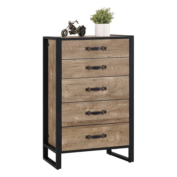 【森可家居】格雷森2.3尺五斗櫃 8CM537-6 衣物收納櫃 木紋質感 工業風