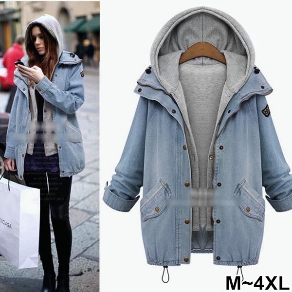 【V2672】shiny藍格子-牛仔時尚.兩件式連帽牛仔外套