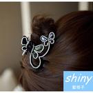 【DJB5507】shiny藍格子-蝴蝶飛舞水鑽水晶髮夾