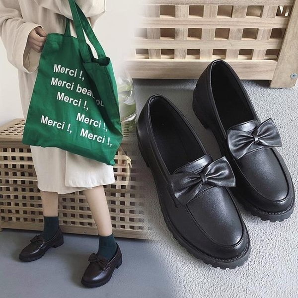 牛津鞋 單鞋女春秋季2018新英倫學院風蝴蝶結平底樂福鞋原宿軟妹小皮鞋 芭蕾朵朵