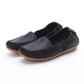MICHELLE PARK 輕時尚舒適彈力牛皮休閒平底鞋-黑(黑縫線)