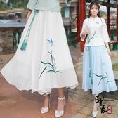 原創設計女裝 中國風復古飄逸仙女大擺裙 雪紡鬆緊腰繡花半身裙雙層 十一週年降價