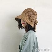 沙灘帽 夏防曬帽子遮臉太陽帽遮陽海邊沙灘帽大帽檐遮陽帽女士大沿帽草帽 快速出貨