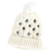PINKO 鑽飾反折兔毛球針織羊毛帽(白色) 1640272-20