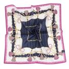 MARIO VALENTINO 結繩鎖鏈純綿帕領巾(深藍色)989259-2