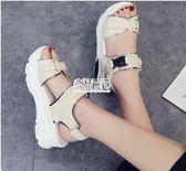 夏季韓版羅馬露趾女鞋鬆糕厚底魔術貼百搭涼鞋女學生平底鞋潮