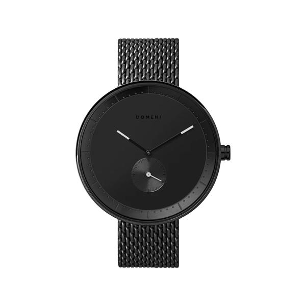 DOMENI COMPANY 316L不鏽鋼時尚黑腕錶 經典米蘭錶帶 雙色指針 (40mm/BLM03)