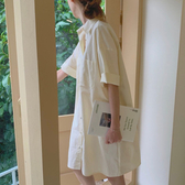 洋裝 Chic韓國 夏日清新法式寬松顯瘦中袖襯衫連身裙 女 7589 B156 依品國際