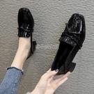 小皮鞋女2021夏季新款百搭黑色高跟工作單鞋英倫風方頭粗跟女鞋 快速出貨