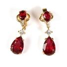 D'ORLAN 紅色水晶墬飾夾式耳環(紅色) 990108