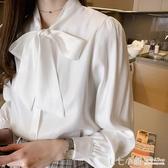 雪紡襯衫~2020春夏新款長袖職業襯衫女設計感小眾寬鬆蝴蝶結白色襯衣打底衫