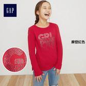 Gap女童 妙趣圖案長袖圓領T恤 399060-摩登紅色