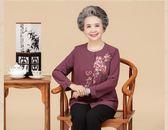 奶奶裝夏裝套裝中老年人女60-70歲媽媽春秋薄款七分長袖襯衫外套 夢曼森居家