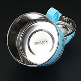 不銹鋼卡通飯盒便當盒泡面碗學生帶蓋兒童快餐杯保溫碗成人飯缸-交換禮物